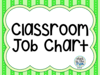 Classroom Job Chart - Lime Green & Black