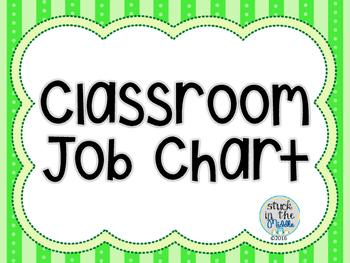 Classroom Job Chart - Lime Green & Black