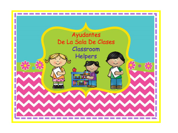 Bilingual Classroom Job Chart - Chevron Decor Theme
