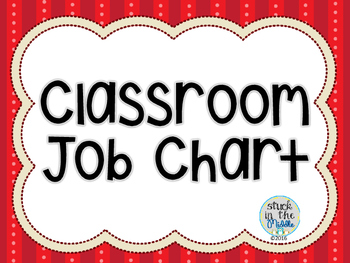 Classroom Job Chart - Red & Black