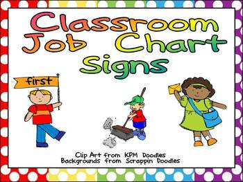 Classroom Job Chart Signs for Primary Classroom- Could Use in Pocket Chart