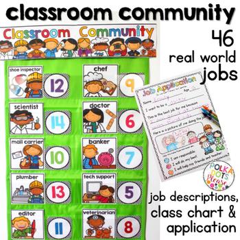 Classroom Job Chart and Application with Real World Jobs