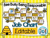 Classroom Job Chart and Classroom labels (Bee + OWL Theme)- EDITABLE