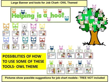 Classroom Job Chart and Classroom labels (Bee + OWL Theme)- EDITABLE