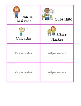 Classroom Job Chart and Locker Labels