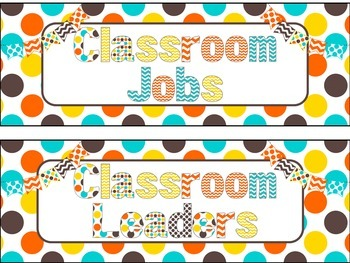 Classroom Job Chart in Candy Colors Theme
