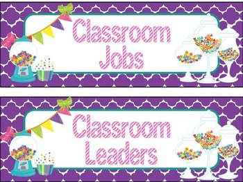 Classroom Job Chart in Candy Shop Theme