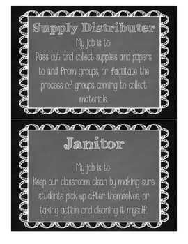 Classroom Jobs in Chalkboard