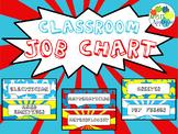 Classroom Job Chart in Comic Book Theme