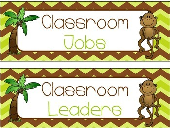 Classroom Job Chart in Monkey Theme