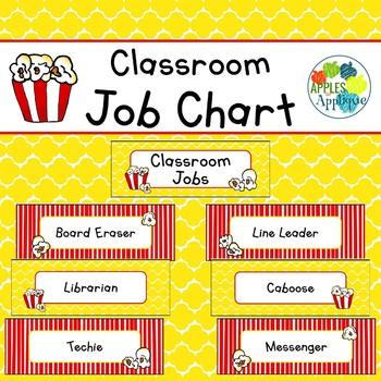 Classroom Job Chart in Popcorn Theme