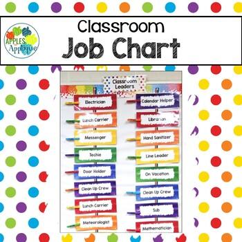 Classroom Job Chart in Rainbow Theme