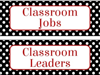 Classroom Job Chart in Red Pop of Color Theme