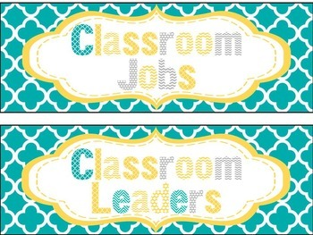 Classroom Job Chart in Yellow, Teal, and Gray