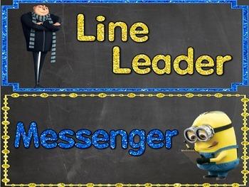 Classroom Job Chart (minion, chalkboard, glitter)
