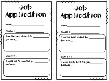 Classroom Job Chart with Application and Contract