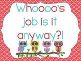 Classroom Job Clip Chart Turquoise, Coral and Owls