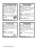 Classroom Job Description Cards and Recording Sheet