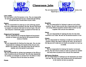 Classroom Job Descriptions *EDITABLE*
