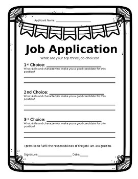 Classroom Job Application/Descriptions-Editable