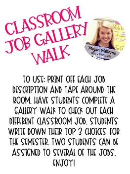 Classroom Job Gallery Walk