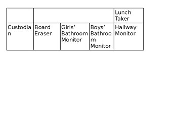 Classroom Job Helpers Chart (one page)