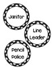 Classroom Job Label Cards BLACK AND WHITE