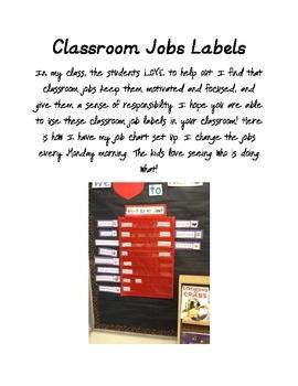Classroom Job Labels FREE