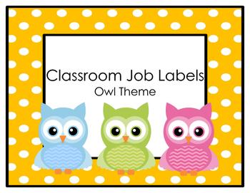 Classroom Job Labels- Owl Theme