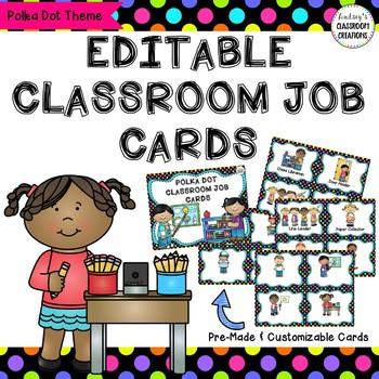 Classroom Job Labels - Polka Dot Theme - Pre-made and Blan