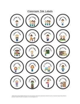 Classroom Job Labels and Descriptions