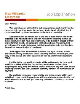 Classroom Job Parent Letter *free*