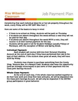 Classroom Job Payment Plan *free*