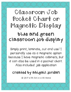 Classroom Job Pocket Chart Display : Blue & Green