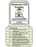 Classroom Job Pockets with Chevron Background