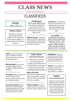 Classroom Job Poster