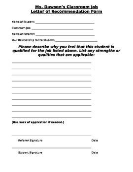 Classroom Job Recommendation Letter