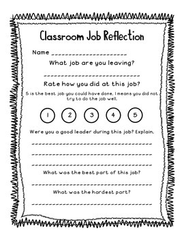 Classroom Job Reflection