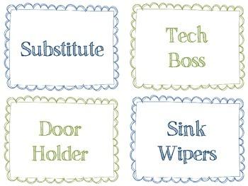 Classroom Job Rotation Cards - Navy & Green