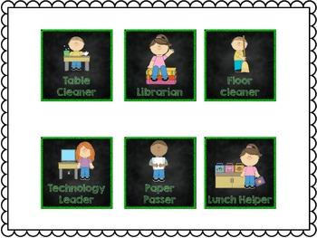 Classroom Jobs Cards {Chalkboard Design}