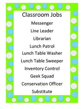 Classroom Job Sign