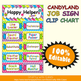 Classroom Job Sign Clip Chart in Candy Land Theme - 100% Editable