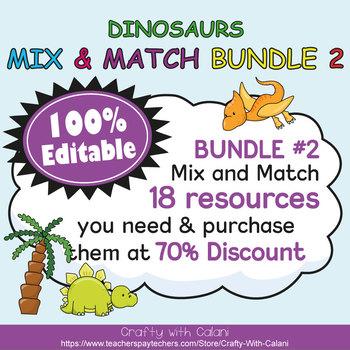 Classroom Job Sign Clip Chart in Cute Dinosaurs Theme - 100% Editable