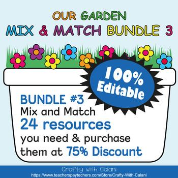 Classroom Job Sign Clip Chart  in Flower & Bugs Theme - 100% Editble