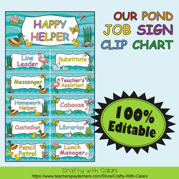 Classroom Job Sign Clip Chart in Our Pond Theme - 100% Editable