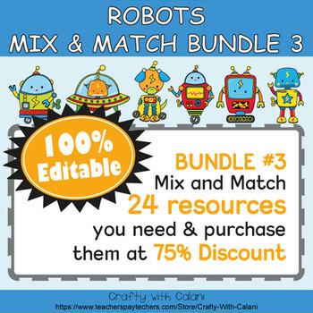 Classroom Job Sign Clip Chart in Robot Theme - 100% Editable