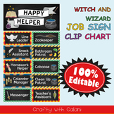 Classroom Job Sign Clip Chart in Witch & Wizard Theme - 100% Editable