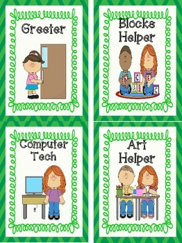 Classroom Job Signs-Green