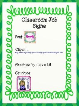 Classroom Job Signs-Green