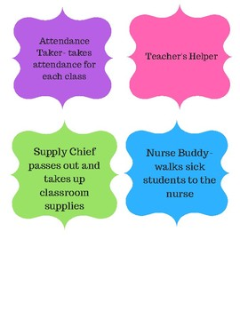Classroom Job Signs- Middle School